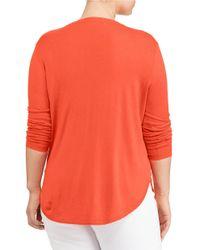 Lauren by Ralph Lauren   Orange Plus Silk-blend V-neck Sweater   Lyst