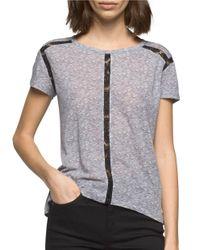 Calvin Klein Jeans | Gray Marled Linen-blend Top | Lyst