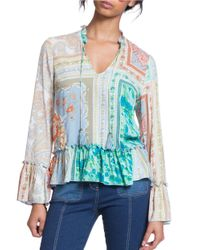 Plenty by Tracy Reese | Multicolor Romantic Ruffle Accented Blouse | Lyst