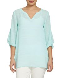 Chaus | Blue Electric Sunset Crinkle Novelty Blouse | Lyst