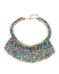 Lord & Taylor | Blue Beaded Fringe Statement Necklace | Lyst