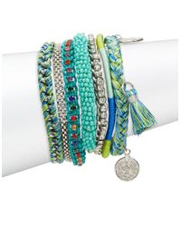 Lord & Taylor | Blue Multi-row Beaded And Braided Charm Bracelet | Lyst