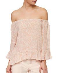 Sanctuary | Pink Julia Floral-printed Off-the-shoulder Top | Lyst