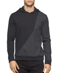 Calvin Klein | Black Paneled Cotton-blend Hoodie for Men | Lyst