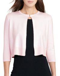 Lauren by Ralph Lauren | Pink Cotton-blend Cardigan | Lyst