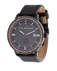 Ike Behar | Black Round Leather Strap Watch for Men | Lyst