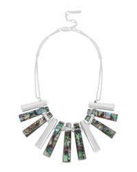 Kenneth Cole | Metallic Hexed Geometric Abalone Stick Frontal Necklace | Lyst