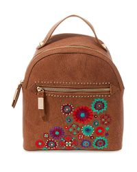 Steve Madden | Brown Embroidered Zipped Backpack | Lyst