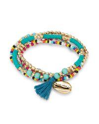 Lord & Taylor - Blue Layered Tassel Bracelet - Lyst