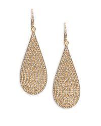 ABS By Allen Schwartz | Metallic Pave Teardrop Drop Earrings | Lyst
