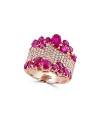 Effy | Pink Amore 1.12 Tcw Diamond, Ruby And 14k Rose Gold Ring | Lyst