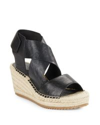 Eileen Fisher | Black Willow Tumbled Leather Espadrilles Platform Wedge Sandals | Lyst