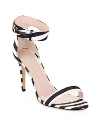 kate spade new york | Black Isa Striped Heeled Sandals | Lyst