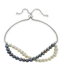 Lord & Taylor | Multicolor 5mm White And Blue Freshwater Pearl Sterling Silver Bracelet | Lyst