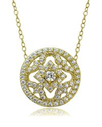 Lord & Taylor   Metallic Cubic Zirconia And Sterling Silver Medallion Pendant Necklace   Lyst