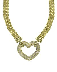 Lord & Taylor | Metallic Cubic Zirconia And Sterling Silver Heart Necklace | Lyst