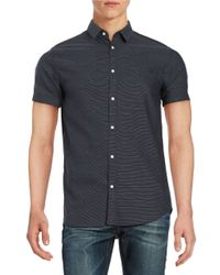 SELECTED | Blue Textured Cotton Sportshirt for Men | Lyst