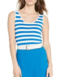 Lauren by Ralph Lauren | Blue Stretch Striped Tank | Lyst