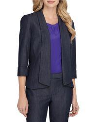 Tahari Blue Fold Over Cuff Sleeve Open-front Jacket