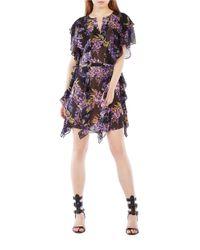 BCBGMAXAZRIA | Black Filippa Floral Silk Kaftan Dress | Lyst