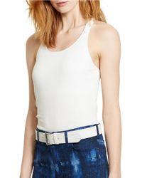 Lauren by Ralph Lauren | Blue Macrame Slim-fit Tank | Lyst