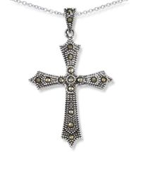 Lord & Taylor - Metallic Marcasite Cross Pendant Necklace - Lyst