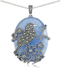 Lord & Taylor   Blue Quartz And Sterling Silver Pendant Necklace   Lyst