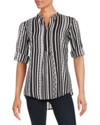 Lord & Taylor | Black Striped Print Top | Lyst