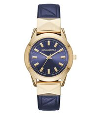 Karl Lagerfeld Blue Labelle Goldtone Stainless Steel And Leather Watch