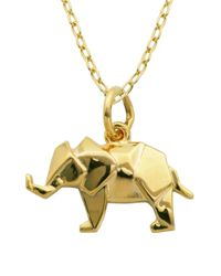 Lord & Taylor | Metallic 18k Yellow Goldplated Sterling Silver Origami Elephant Pendant Necklace | Lyst