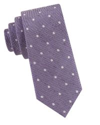 Calvin Klein | Purple Linen Dotted Silk Tie for Men | Lyst