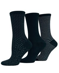 Hot Sox | Blue Printed Three Pack Trouser Socks | Lyst