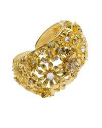 Kenneth Jay Lane | Metallic Floral Open Cuff Bracelet | Lyst