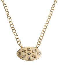 Kenneth Jay Lane | Metallic Crystal Accented Ovular Pendant Necklace | Lyst