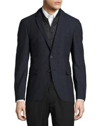 Strellson | Blue Quilted Zip Out Accented Checked Jacket for Men | Lyst