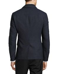 Strellson - Blue Quilted Zip Out Accented Checked Jacket for Men - Lyst