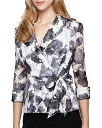 Alex Evenings | White Floral Side Tie Wrap Blouse | Lyst