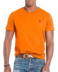 Polo Ralph Lauren   Orange Cotton Jersey V-neck T-shirt for Men   Lyst