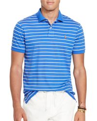 Polo Ralph Lauren | Blue Custom Fit Striped Soft-touch Pima Cotton Polo Shirt for Men | Lyst