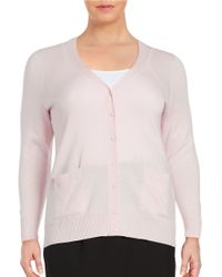 Lord & Taylor | Pink Plus Button-front Merino Wool Cardigan | Lyst