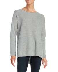 Lord & Taylor   Gray Merino Wool Hi-lo Sweater   Lyst