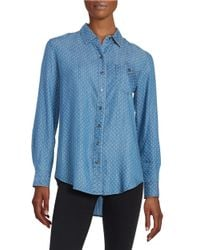 Lord & Taylor   Blue Polka Dot Button-tab Blouse   Lyst