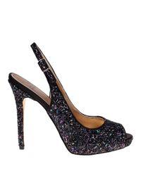 Belle By Badgley Mischka | Black Elvie Glitter Platform Slingback Sandals | Lyst
