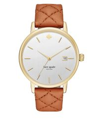 kate spade new york | Metallic Metro Grand Goldtone Stainless Steel And Quilted Luggage Leather Strap Watch | Lyst