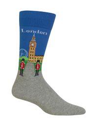 Hot Sox   Blue London Crew Socks for Men   Lyst