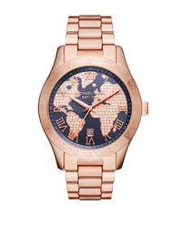 Michael Kors Metallic Layton World Map Dial Rose Goldtone Link Bracelet Watch
