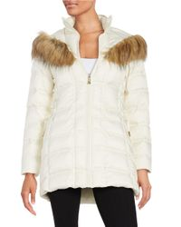 Betsey Johnson   White Faux Fur-trimmed Hooded Mid Length Puffer Coat   Lyst