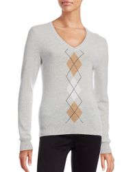 Lord & Taylor | Gray Petite Argyle Cashmere Sweater | Lyst