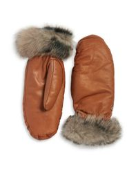 UGG | Brown Faux Fur Lined Shearling Cuff Mittens | Lyst