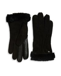 UGG | Black Leather-trimmed Suede And Shearling Smart Gloves | Lyst